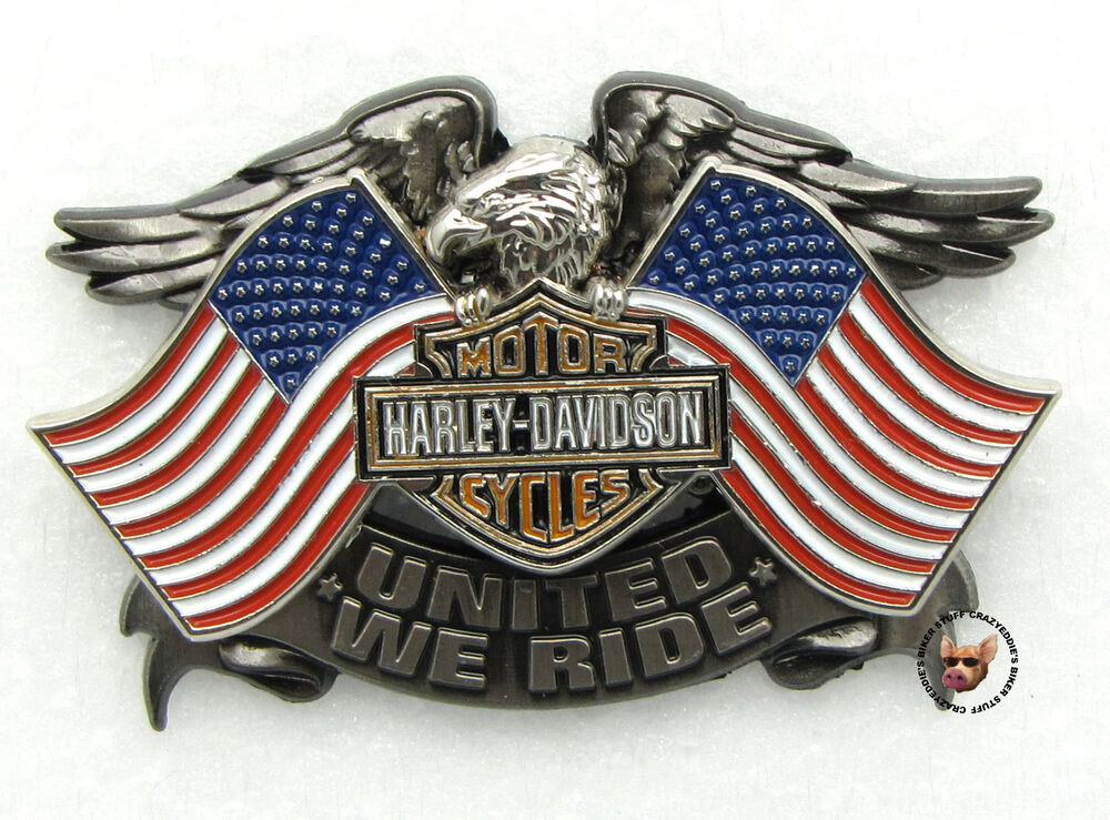 Harley Davidson United We Ride Patriotic Usa Flags And