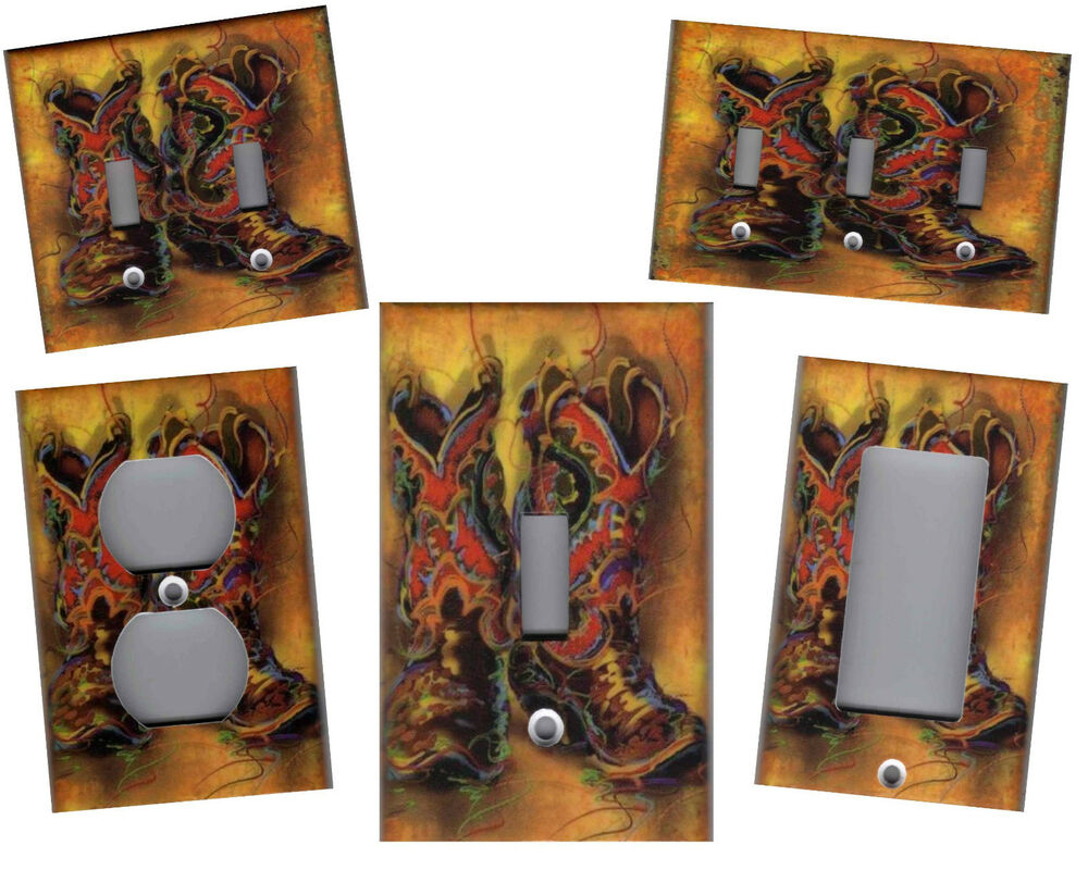 Western cowboy boots home wall decor light switch plate ebay for Cowboy decor