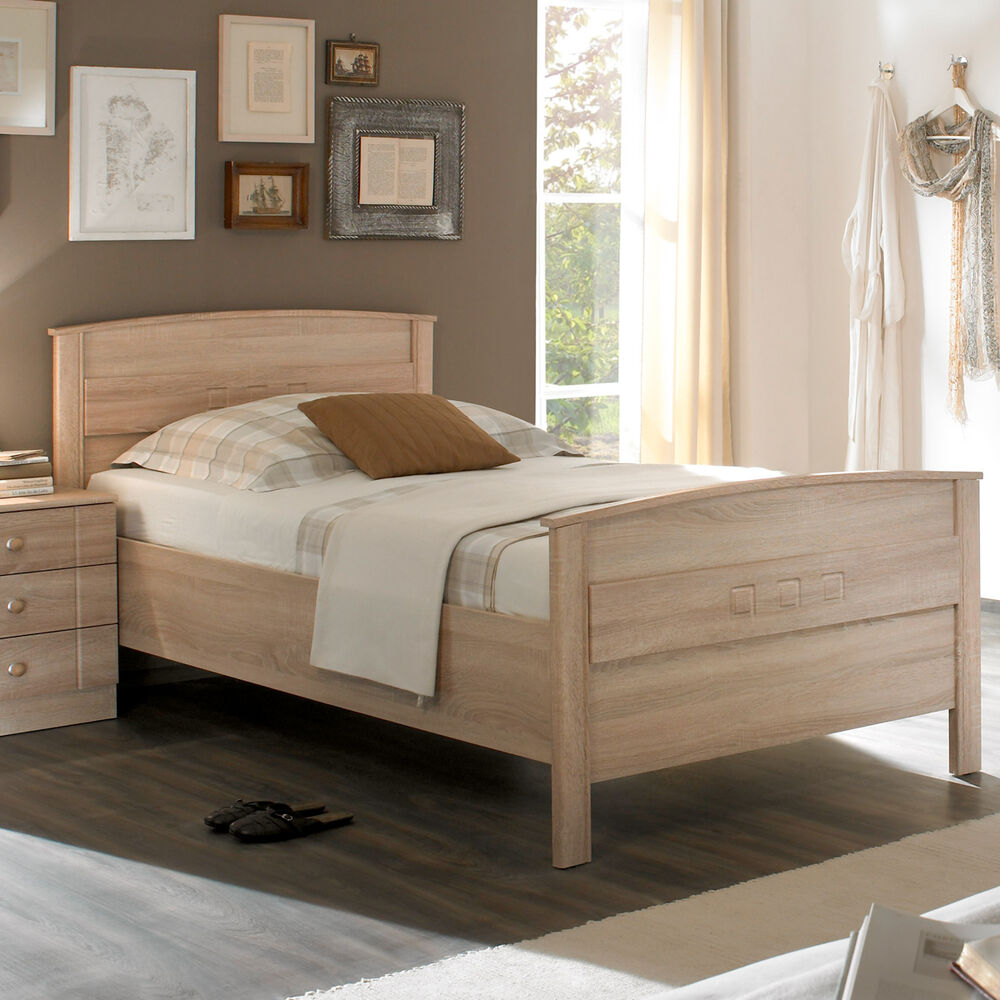 bett curanum einzelbett komfortbett in eiche sonoma h henverstellbar 100x200 ebay. Black Bedroom Furniture Sets. Home Design Ideas