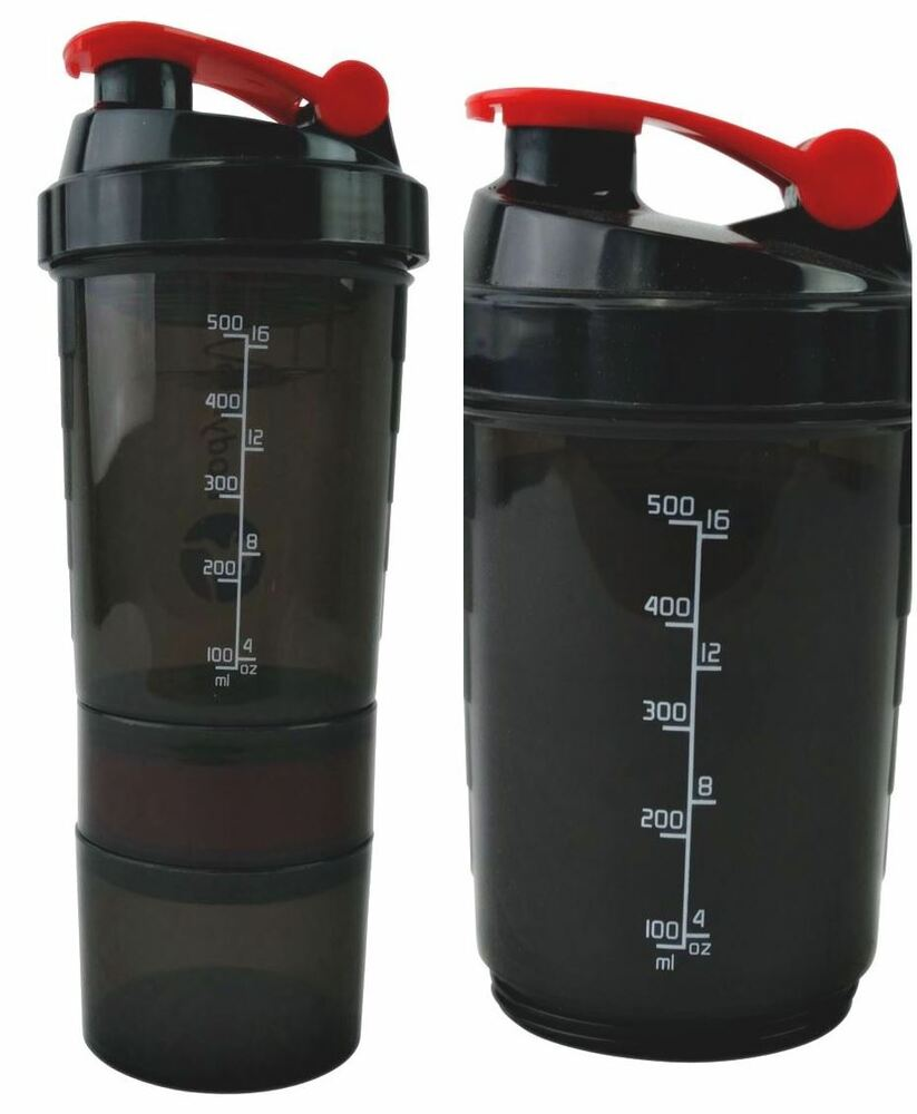 Protein Shaker Compartment: Compartment Red Protein Shaker 500ml Water Nutrition Mixer