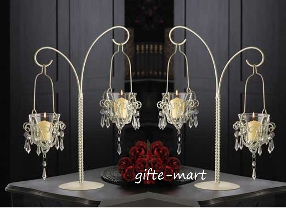 2 White 17 Tall Crystal Bead Chandelier Candle Holder