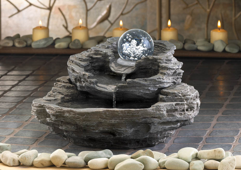 Moving rolling ball rock cliff stone waterfall meditation for Waterfall fountain
