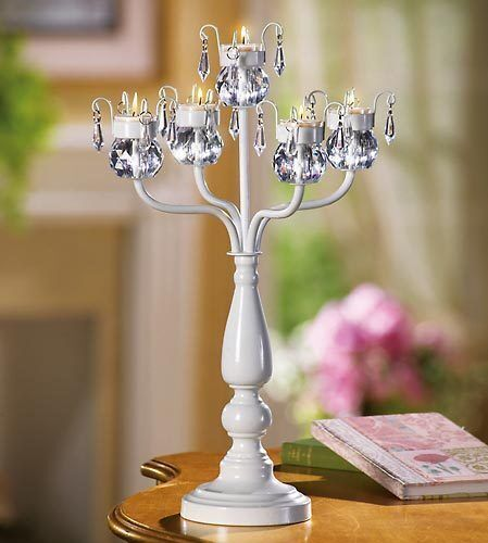 Large quot tall white prism chandelier candelabra candle