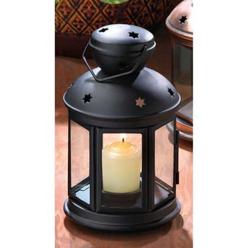 Rustic Wooden Tea Light Holder Free Shipping: 5 Bulk Black Shabby Country Western Candle Holder Lantern