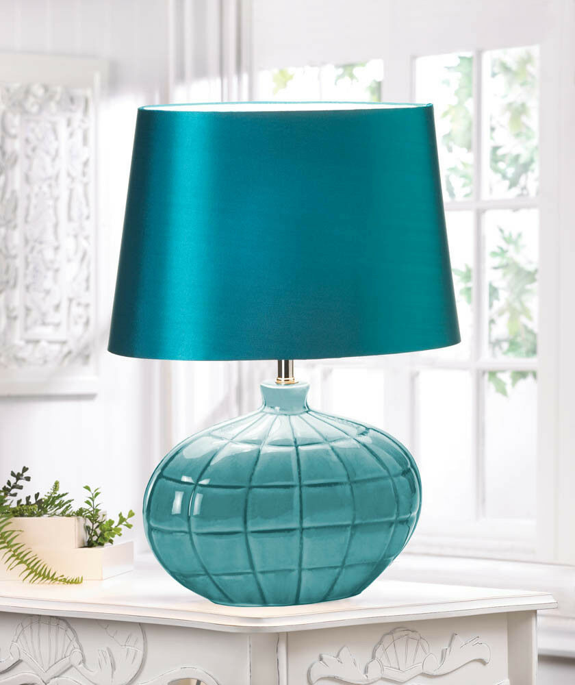 Modern retro teal blue turquoise bedside end table lamp for Bedside table lamp shades
