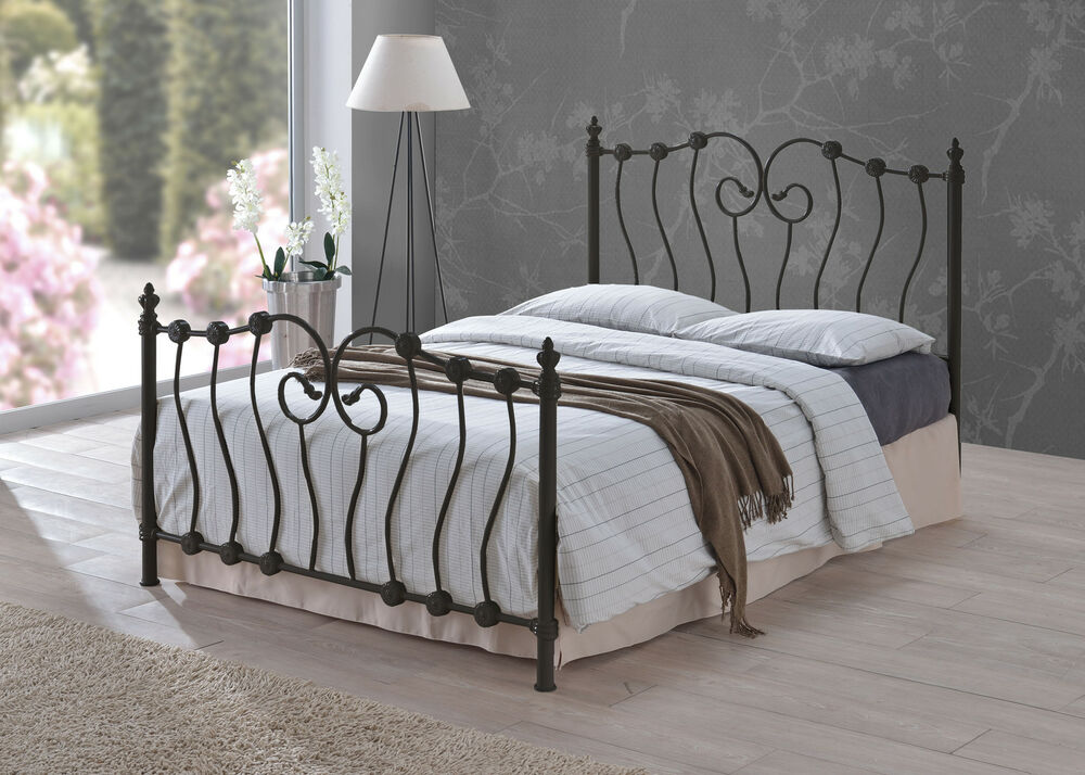 Victorian Style Metal Bed Frames : Inova ft black double size victorian shabby chic style