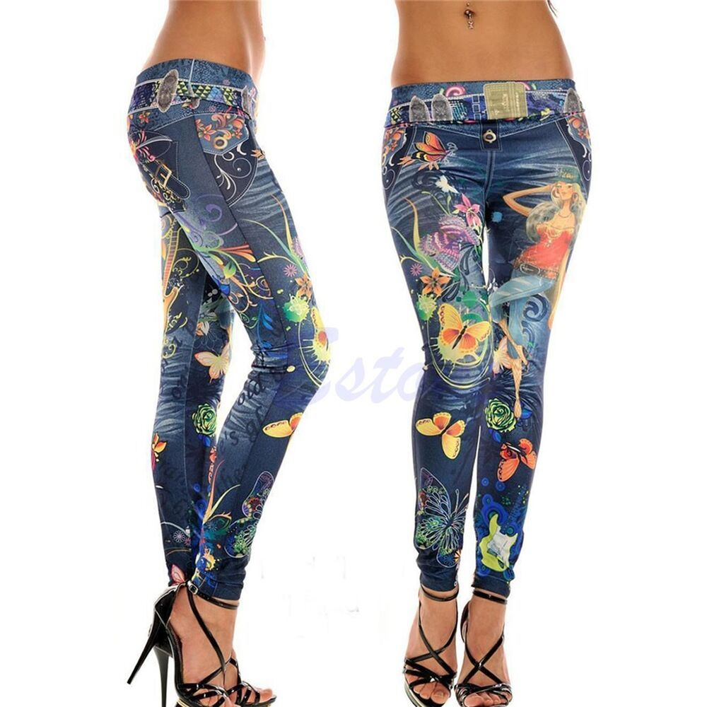 Women's Fashion Jeans Look Skinny Jeggings Stretchy Slim ...