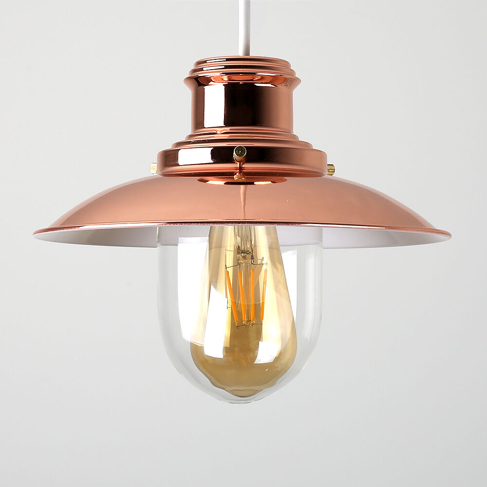 Contemporary Copper Fishermans Ceiling Light Pendant Shade