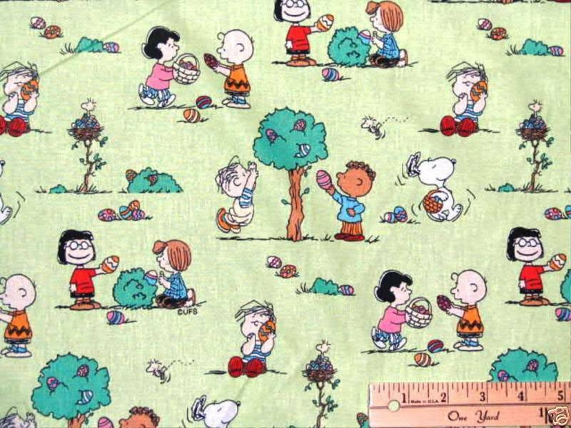 Snoopy woodstock peanuts easter egg hunt fabric by the fat Coloring book fabric by the yard