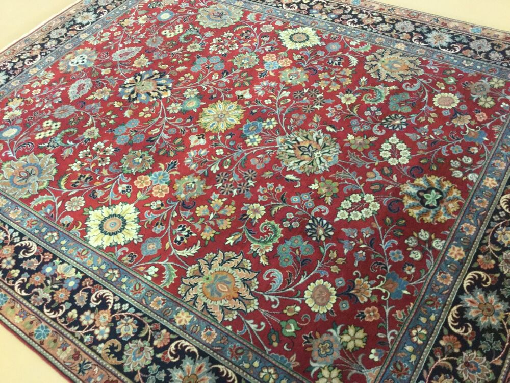 8 x 10 red blue traditional sarouk persian oriental area for Thick area rugs sale