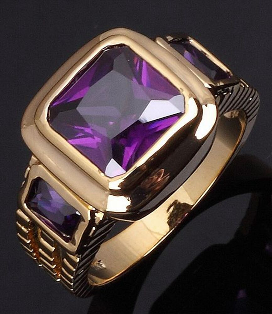 size 89101112 luxury amethyst engagement gold filled With mens amethyst wedding ring
