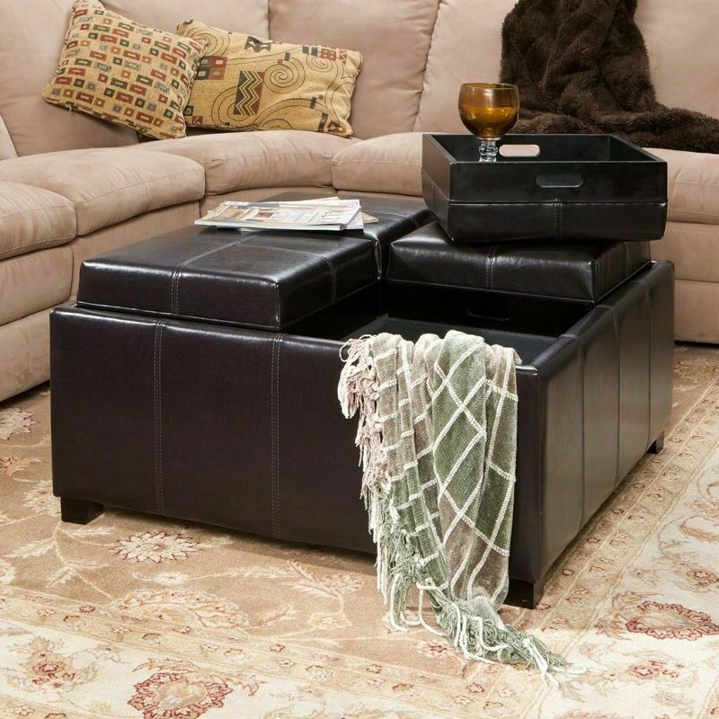 Large Ottoman Coffee Table Tray: 4-Tray-Top Espresso Brown Leather Storage Ottoman Coffee
