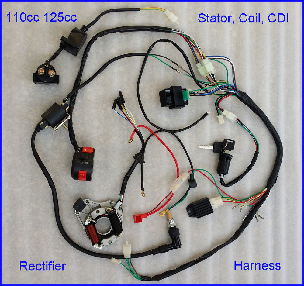 complete electrics atv stator 50cc 70cc 110cc 125cc cdi ... qiye mini chopper wiring diagram