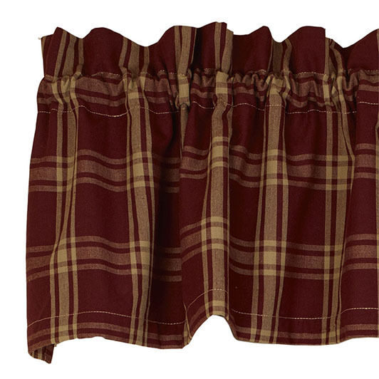 Country Primitive Classic Burgundy Valance Rustic
