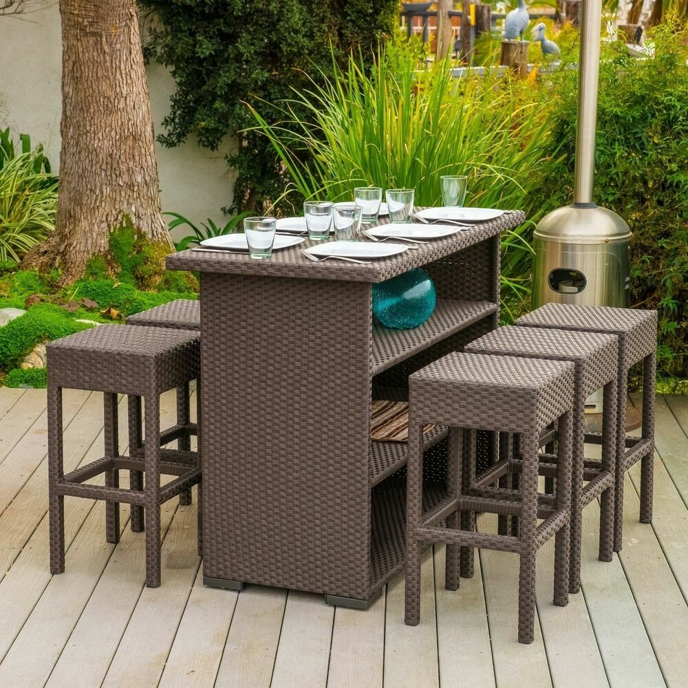 Outdoor Patio Furniture 7pc Brown PE Wicker Bar Set