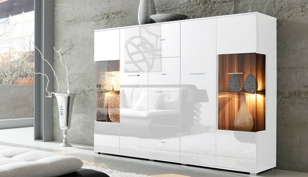 highboard sideboard hochglanz wei lack nussbaum 17685 ebay. Black Bedroom Furniture Sets. Home Design Ideas