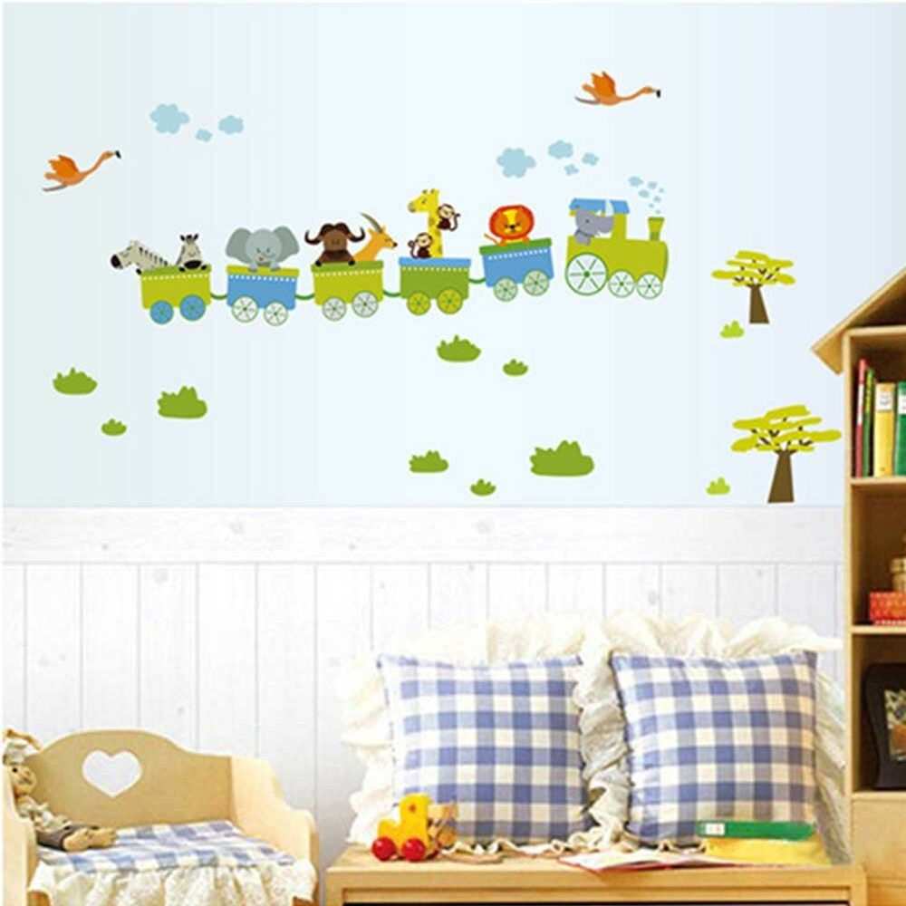 Art decal decor animal roller wall stickers nursery boy for Baby boy wall mural