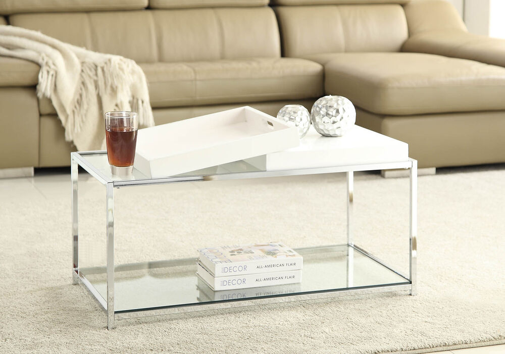 Convenience concepts palm beach coffee table white for Table 52 west palm beach