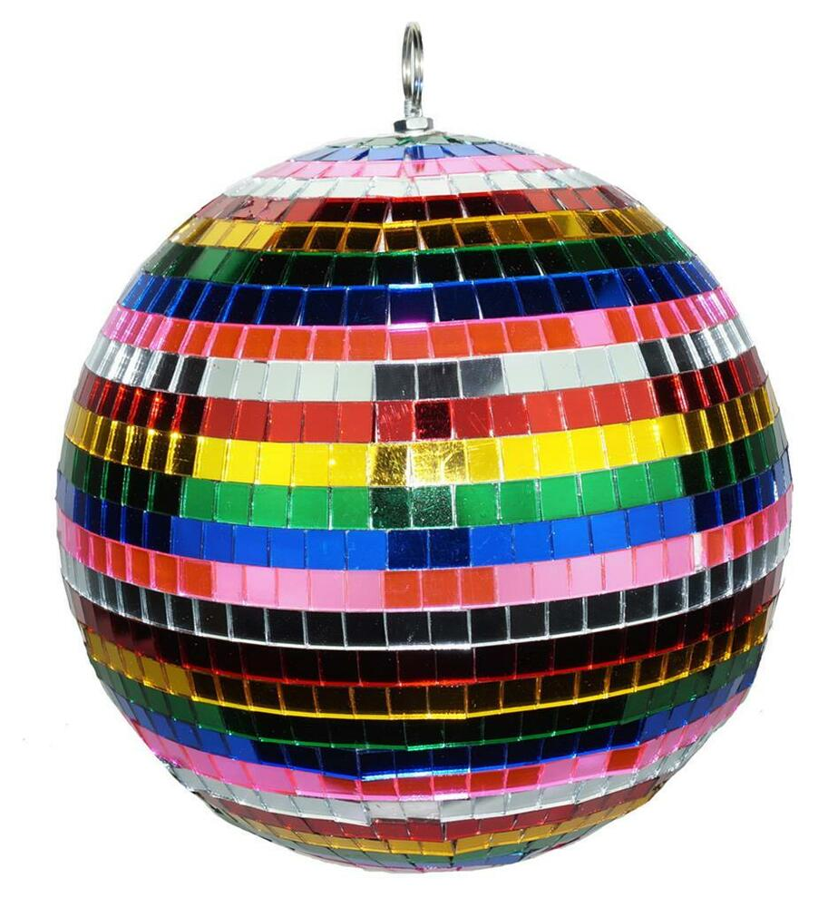 12 Inch Rainbow Glass Mirror Disco Ball Party Supply