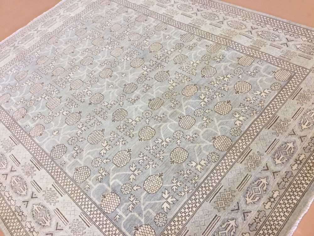 8 x 10 gray beige oushak persian oriental area rug hand for Grey and tan rug