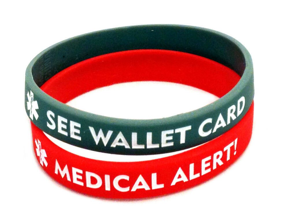 Adult Medical Alert Id Silicone Bracelet See Wallet Card Ebay