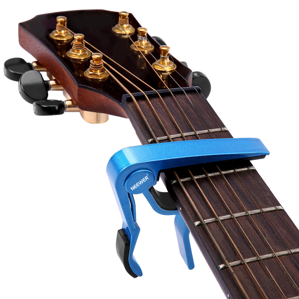 neewer blue single handed quick change electric acoustic 6 string guitar capo ebay. Black Bedroom Furniture Sets. Home Design Ideas