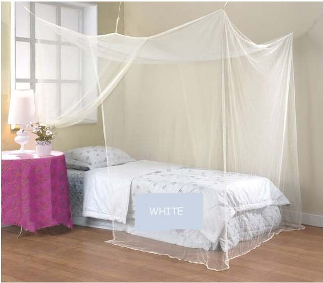 white mosquito net four corner bed canopy bug single