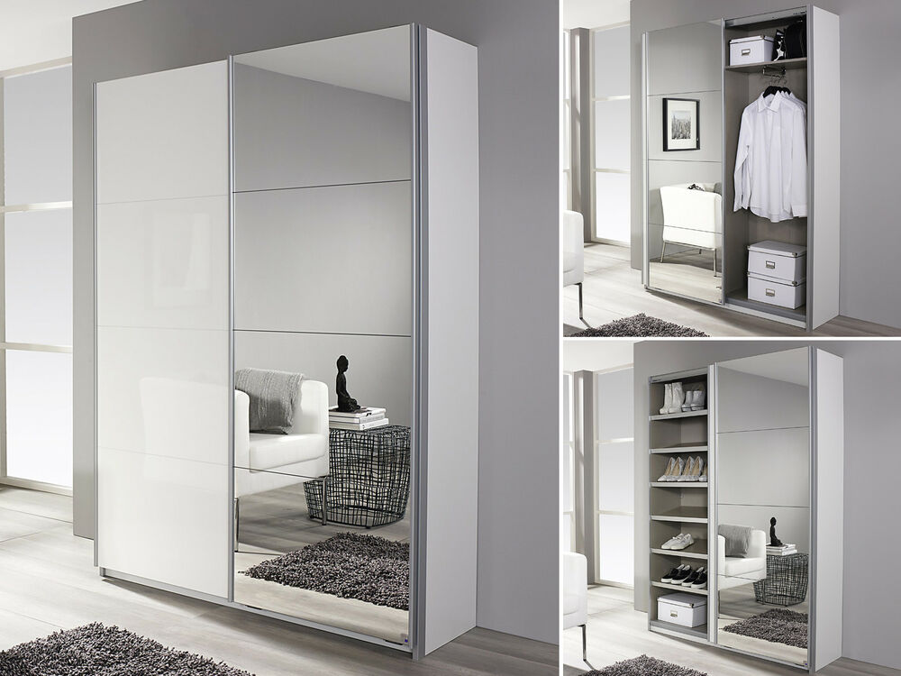 garderobenschrank minosa flurschrank kleiderschrank in wei hochglanz spiegel ebay. Black Bedroom Furniture Sets. Home Design Ideas