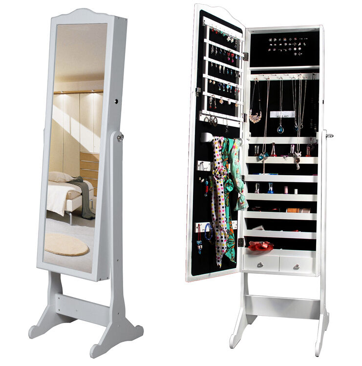White Wood Glass Mirrored Jewelry Armoire Cabinet Stand ...