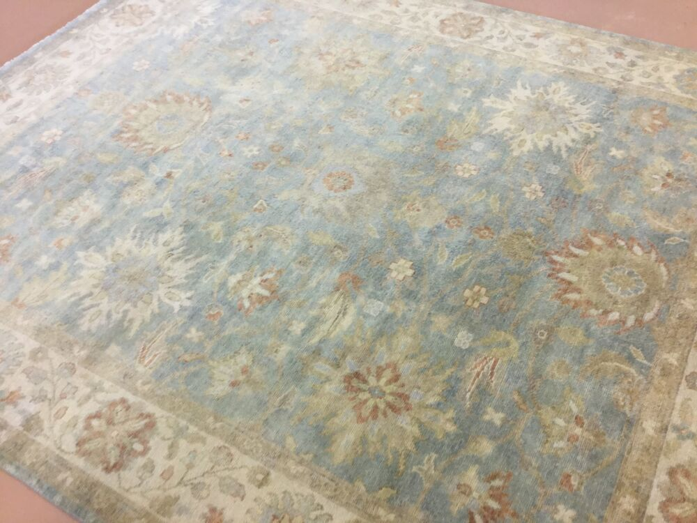 8 X 10 Muted Blue Ivory Oushak Persian Oriental Area Rug