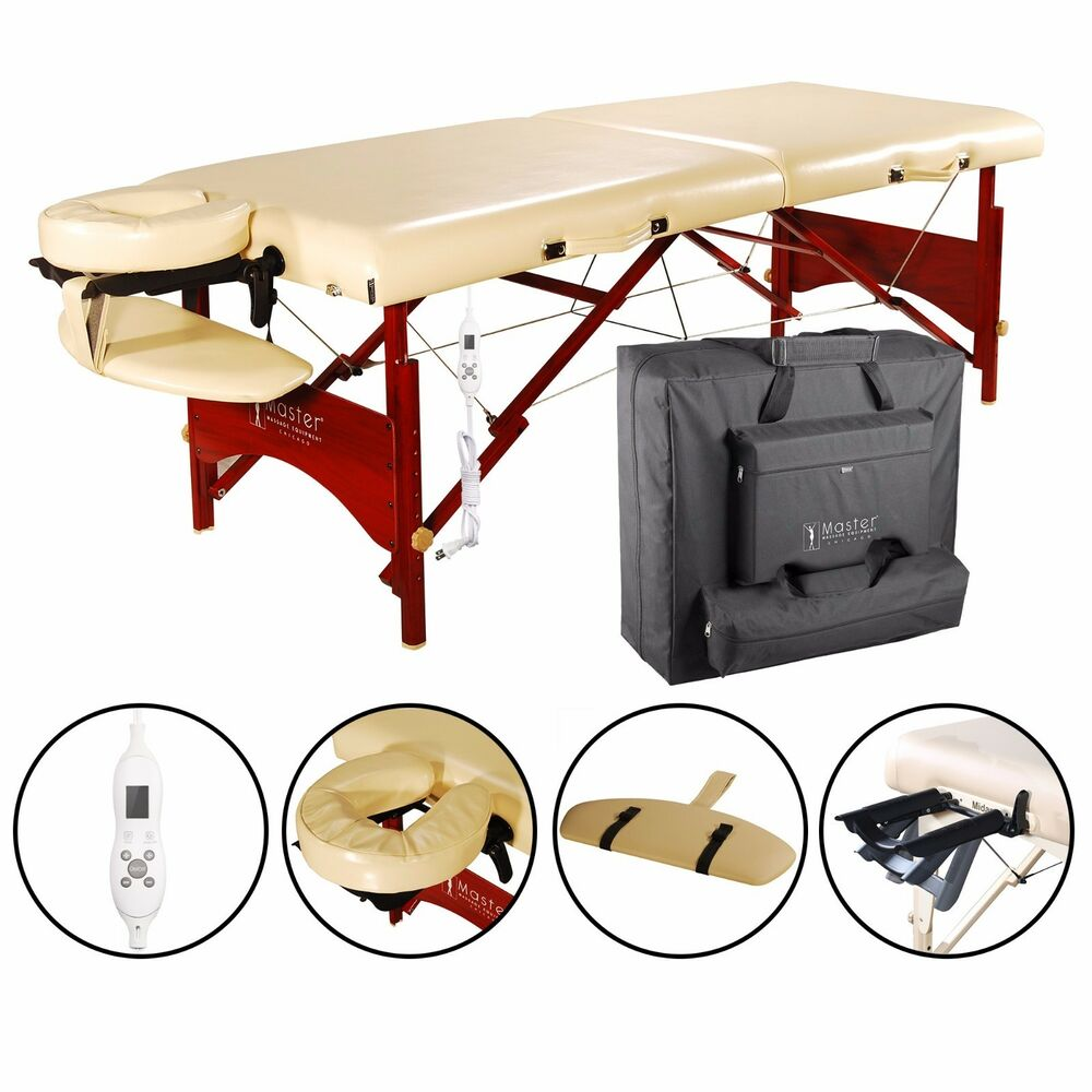 Master 28 caribbean therma top heated portable massage table package beige ebay - How much is a massage table ...