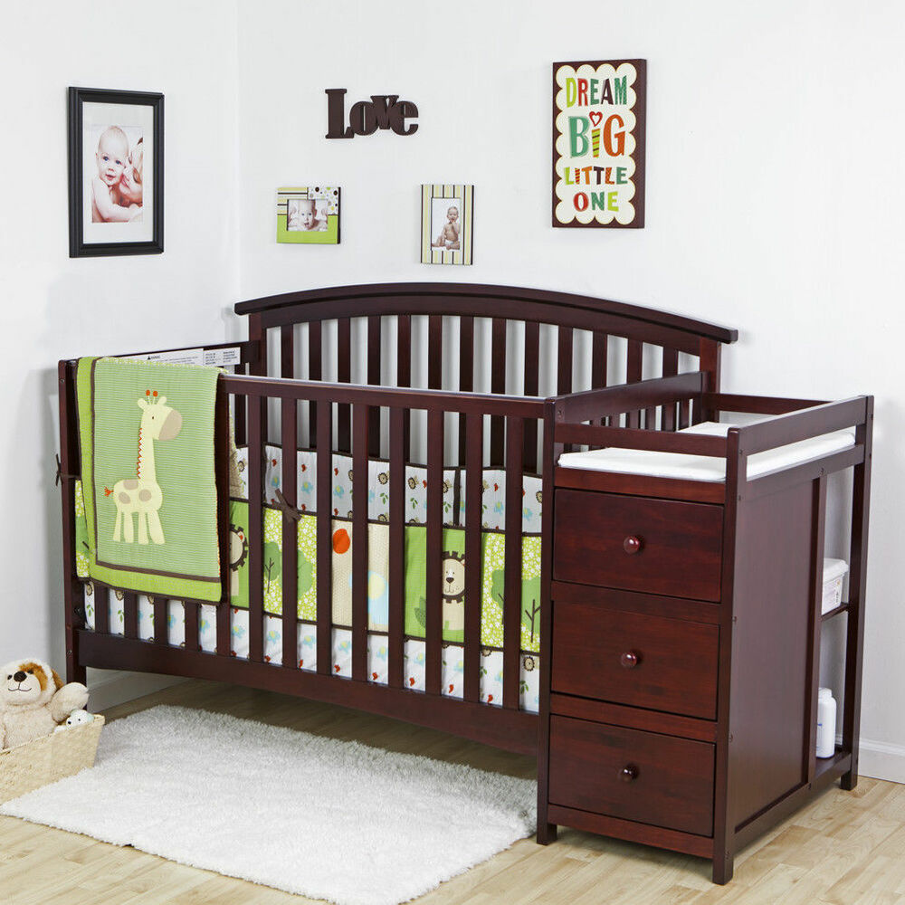 5 Cool Cribs That Convert To Full Beds: NEW 5 In 1 Side Convertible Crib Changer Nursery Furniture