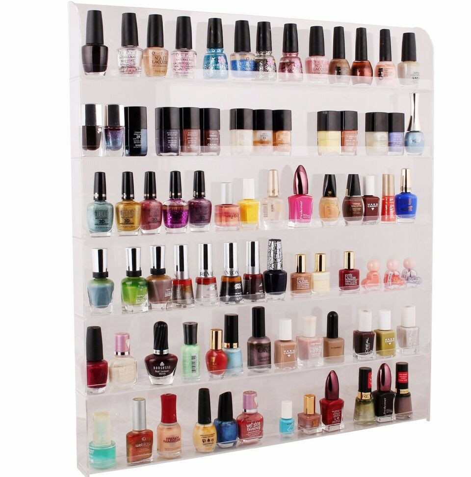 Large Acrylic Clear Nail Polish Organizer Display Wall