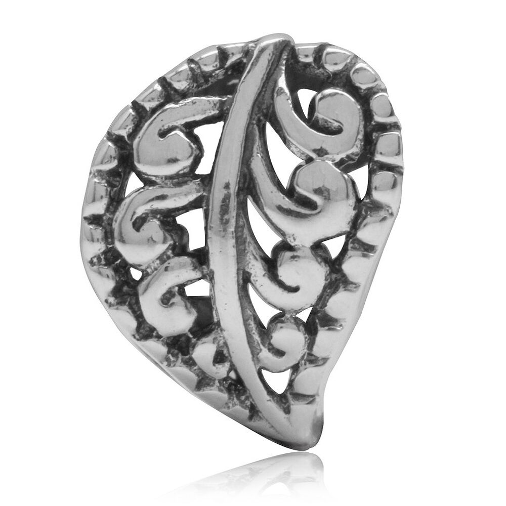925 Sterling Silver Filigree Leaf European Charm Bead Ebay