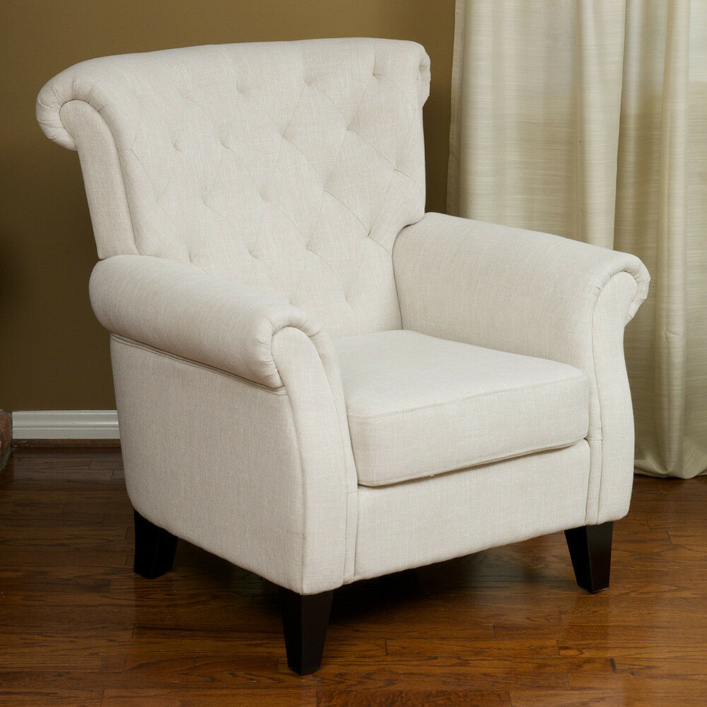 Living room furniture light beige tufted fabric club chair for Ebay living room chairs
