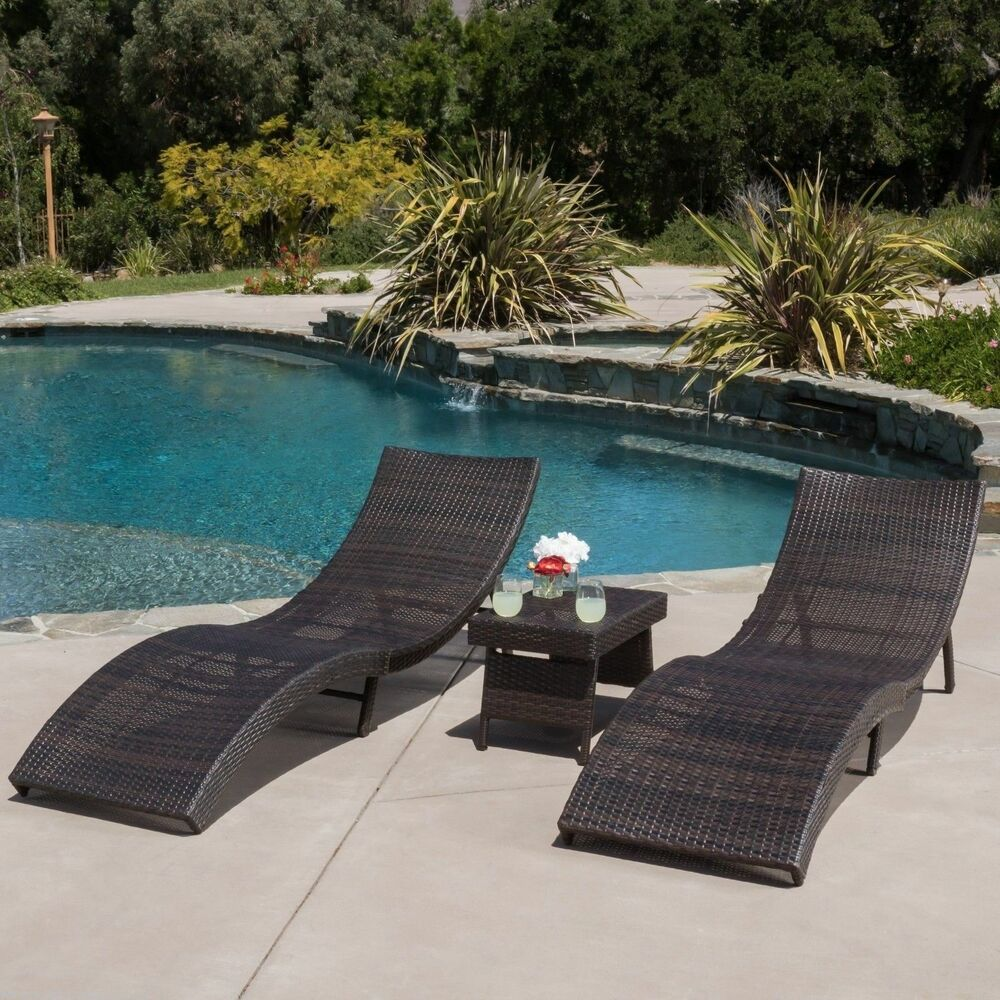 Outdoor Patio Furniture 3pc Folding Brown Wicker Chaise Lounge Chair Ta