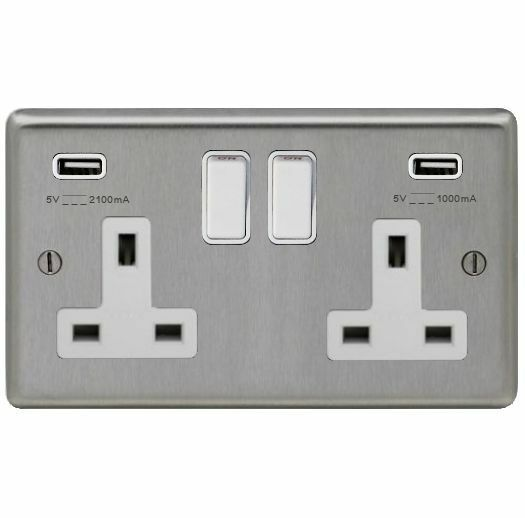Brushed Stainless Steel Double Socket 2 X Usb Charging