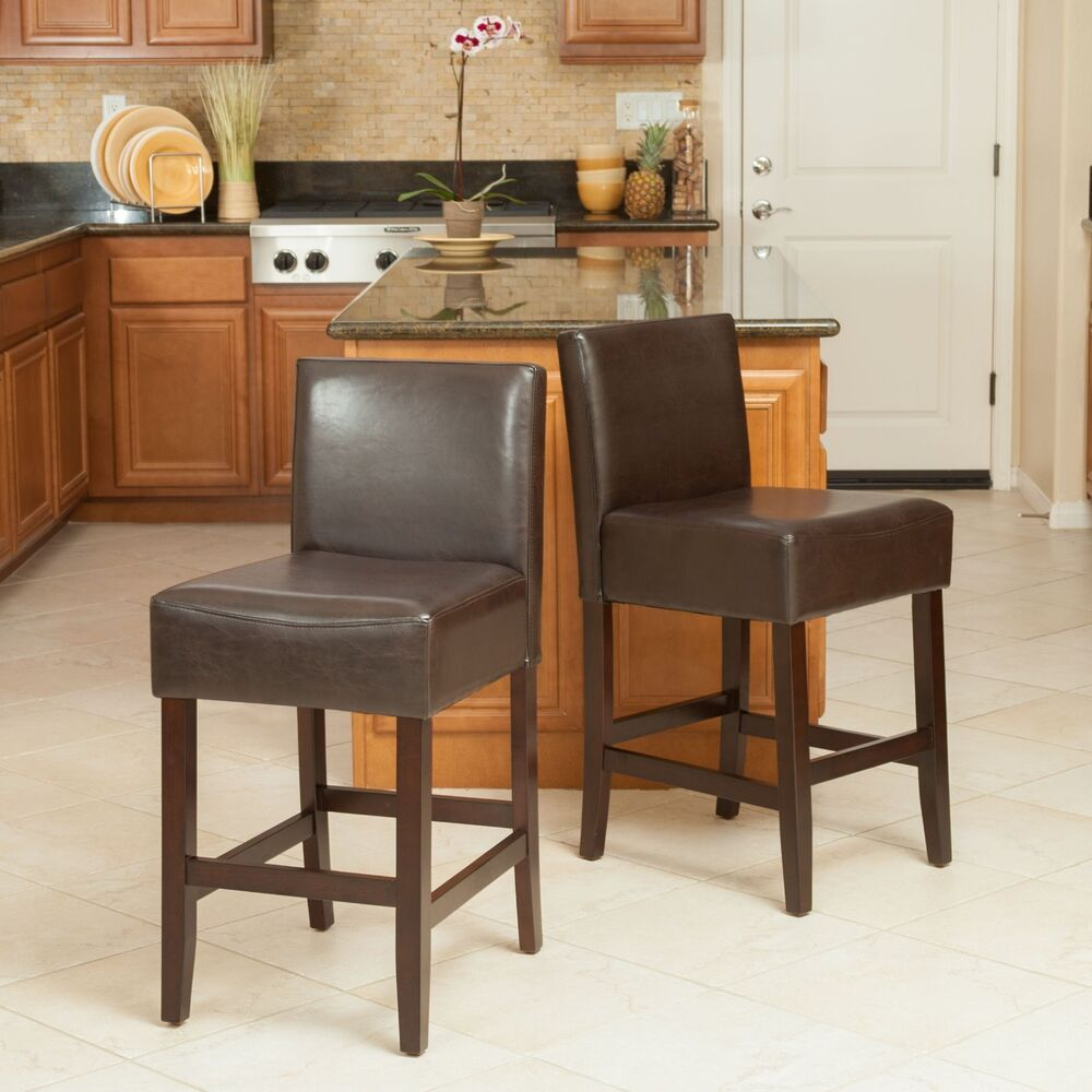 Set Of 2 Brown Leather Contemporary Style Counter Height