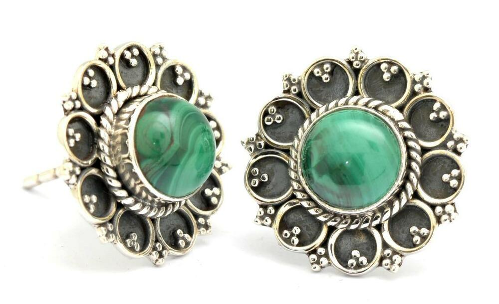malachite gemstone stud earrings solid 925 sterling silver