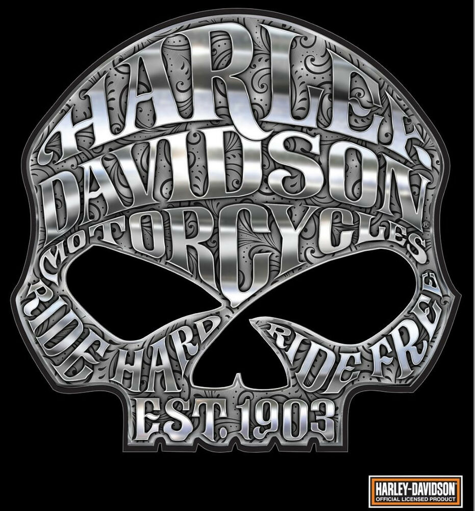HARLEY DAVIDSON MOTORCYCLE WILLIE G SKULL CHROME DECAL