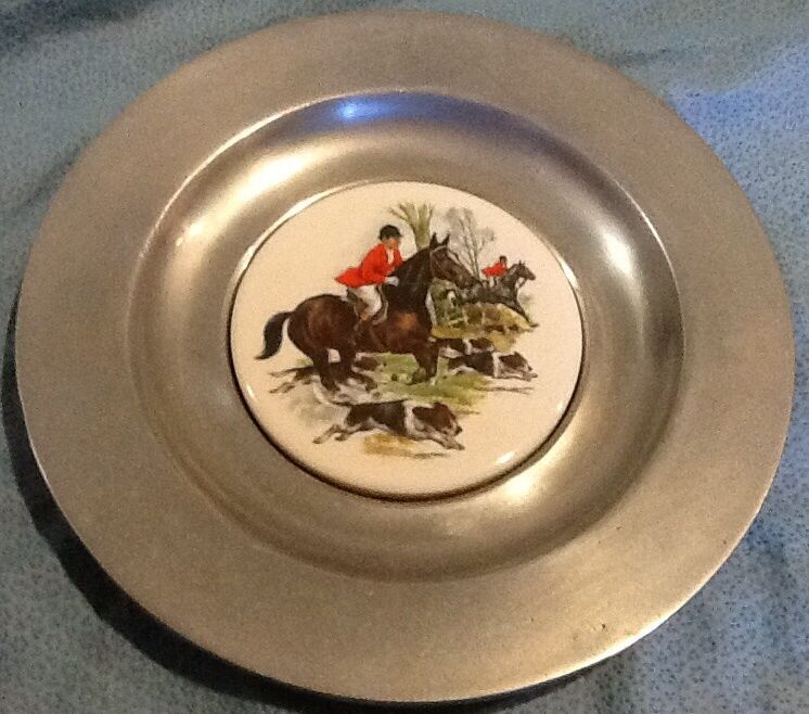 Pewter And Ceramic Tile Wall Hanging Plate Ebay