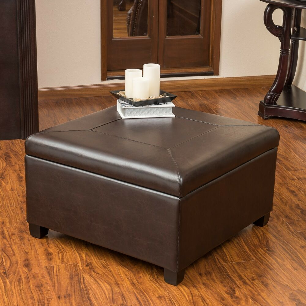 Elegant Brown Leather Storage Ottoman Coffee Table Ebay