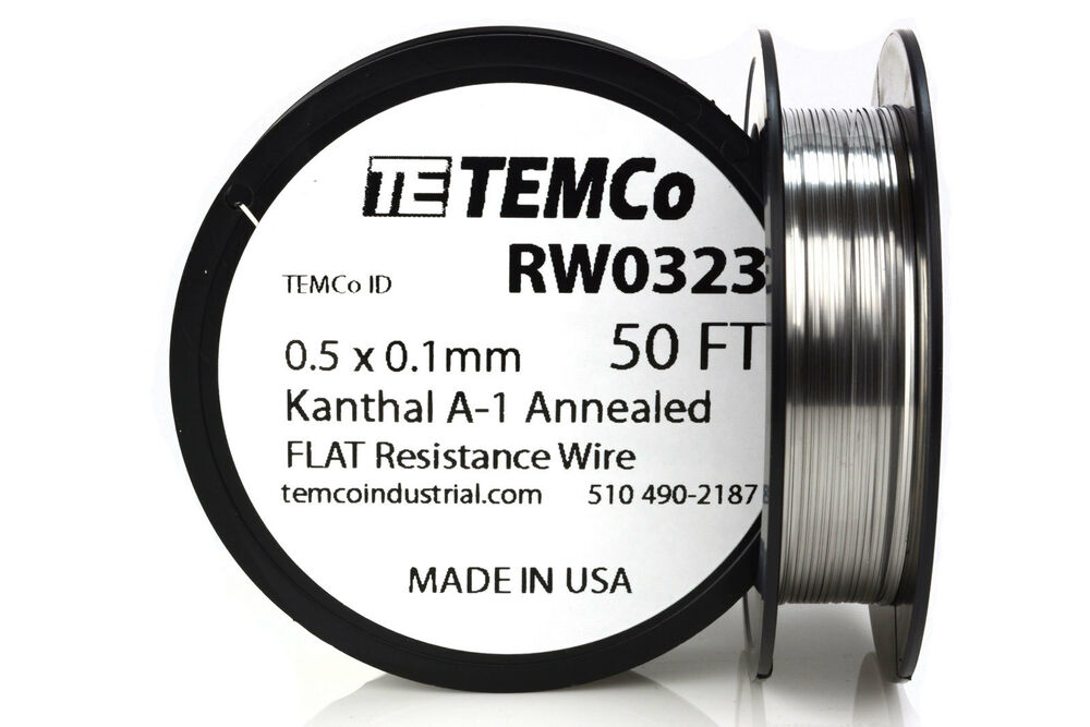 TEMCo Flat Ribbon Kanthal A1 Wire 0.5mm x 0.1mm 50 Ft Resistance A-1 ...