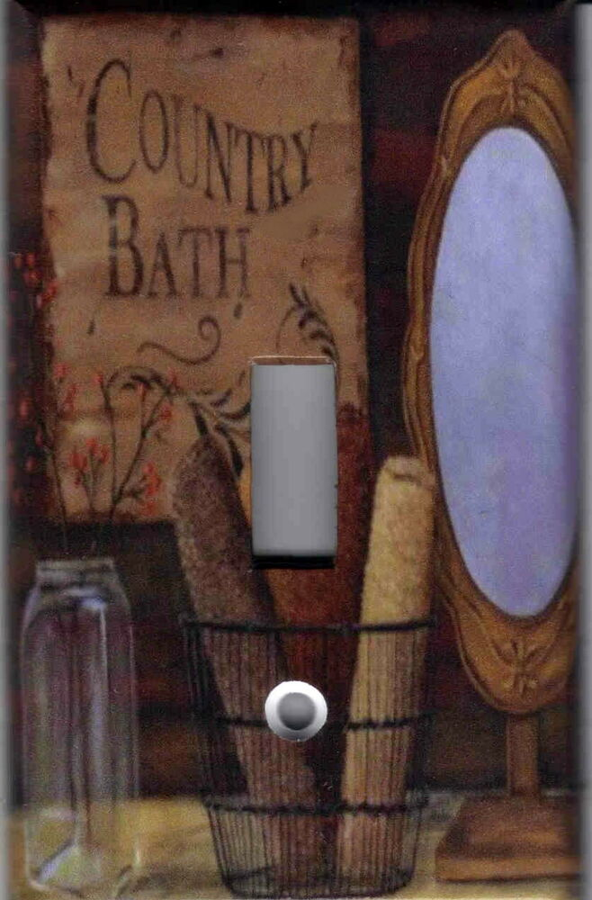 primitive country bath home wall decor light switch plate cover ebay. Black Bedroom Furniture Sets. Home Design Ideas