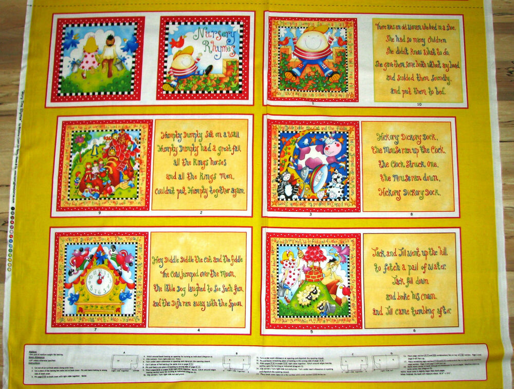 Story time nursery rhymes fabric baby kids book panel for Children s fabric panels
