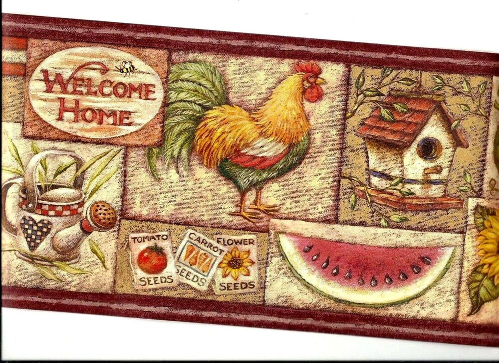 Welcome home wallpaper border with fruit sunflower rooster for Home wallpaper ebay