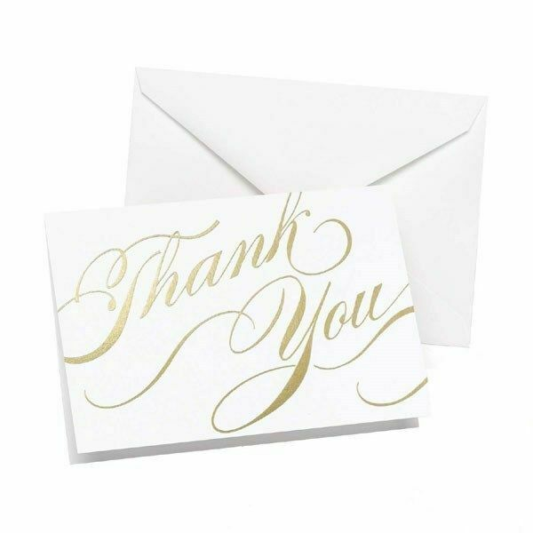 Wedding Gift Thank You Cards Pack : Gold Thank You Pack of 50 Wedding Thank you Cards Thankyou Notes ...