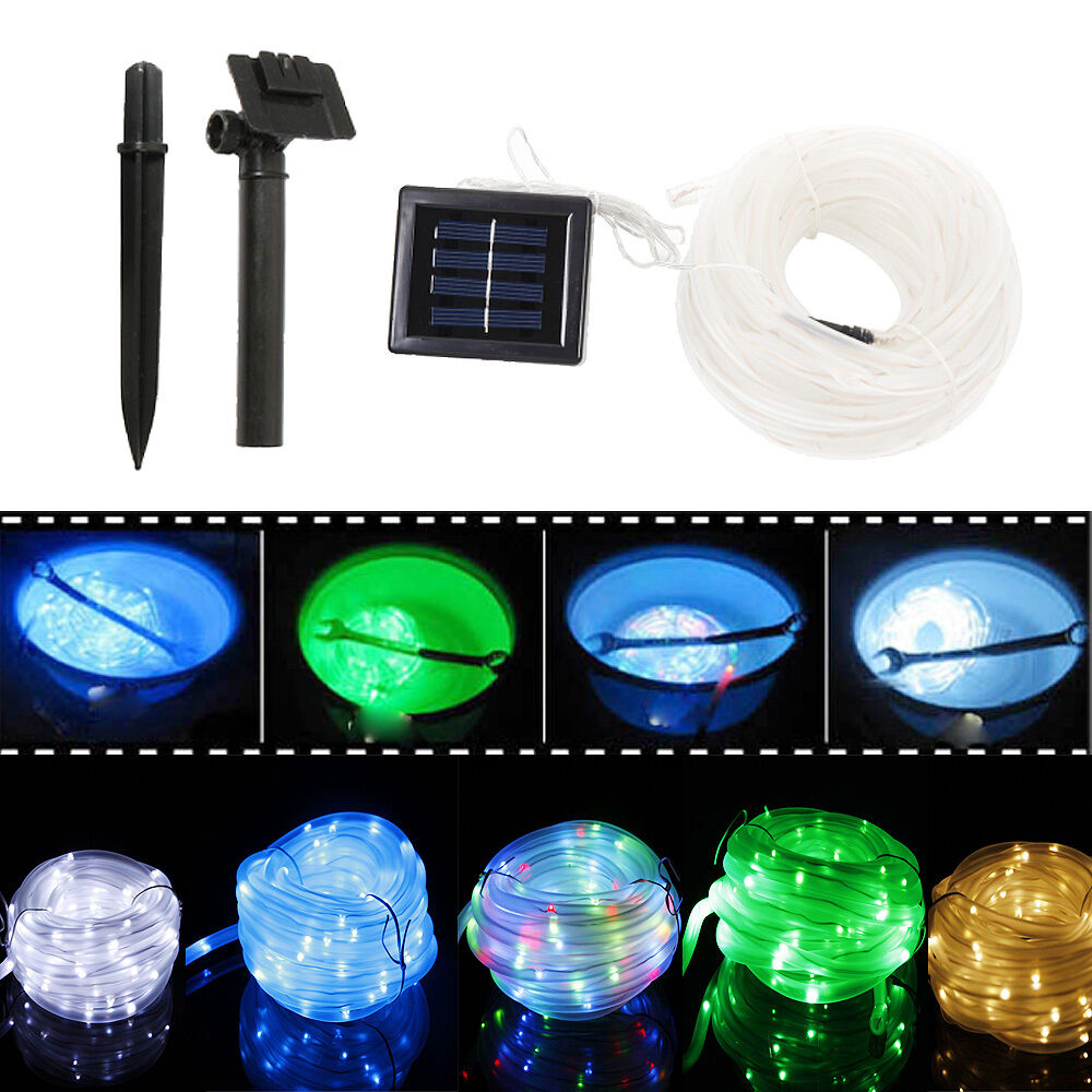 50 100 LED Tube Solar Rope Lamp 5M 10M Garden Tree Path ...