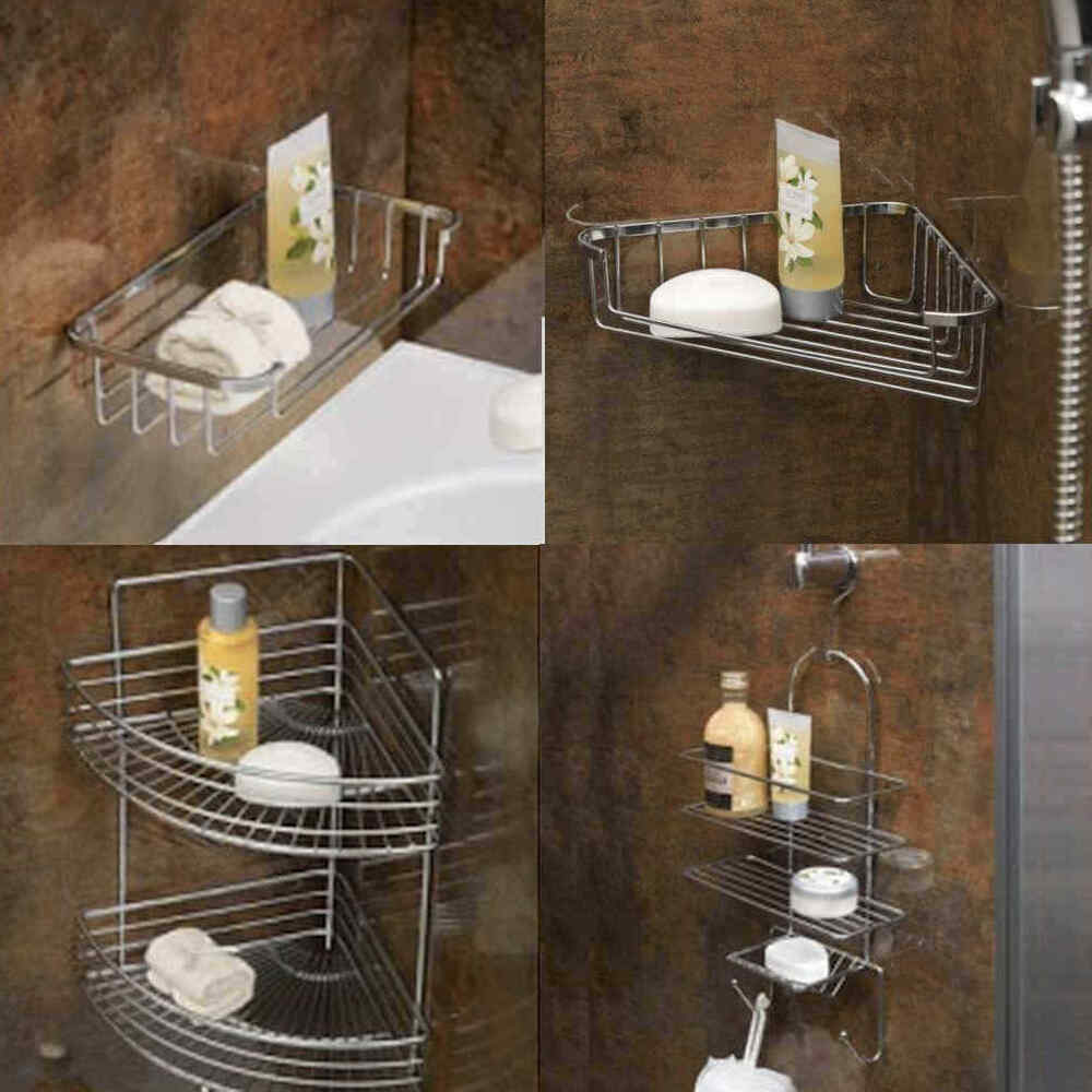 Bathroom Shower Corner Shelves: Rust Resistant Chrome Wire Bathroom Shower Corner Soap