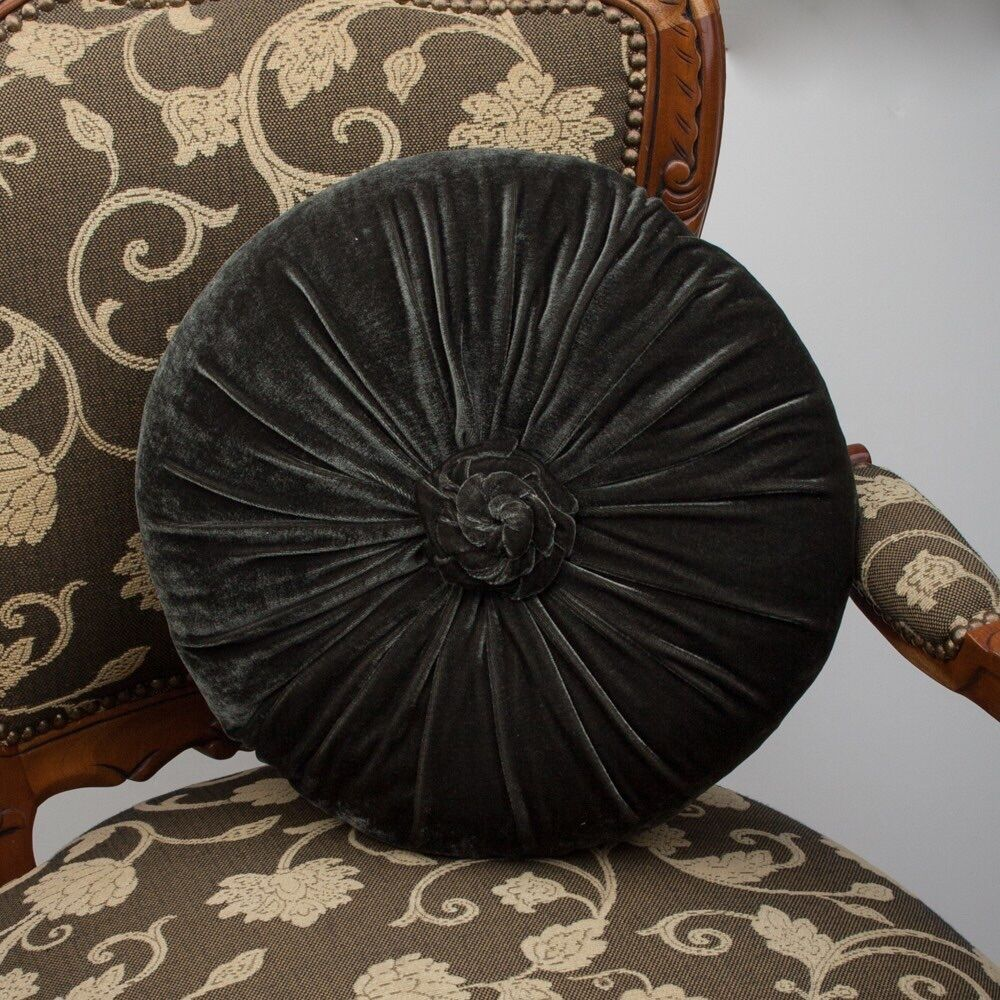 Charcoal Grey Cushion Throw Pillow Velvet Round With